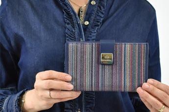 Mujer sujetando una bella billetera en las manos - Categoría carteras de mujer